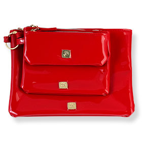 Set Lancome Red Leather Bag 3 size (3Pcs)