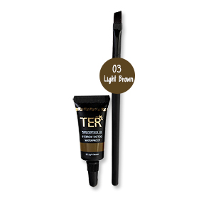 Set TER Masterpiece 3D Eyebrow Tattoo Waterproof With Brush #03 Light Brown 4g
