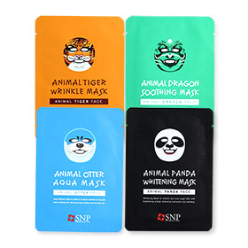 SNP Animal Mask Set 4 Sheets (Tiger Wrinkle+Dragon Soothing+Otter Aqua+Panda Whitening)