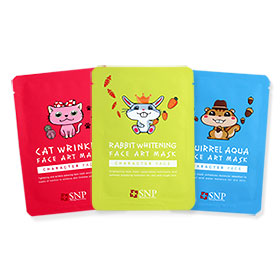 SNP Face Art Mask Set 3 Sheets (Cat Wrinkle+Rabbit Whitening+Squirrel Aqua )