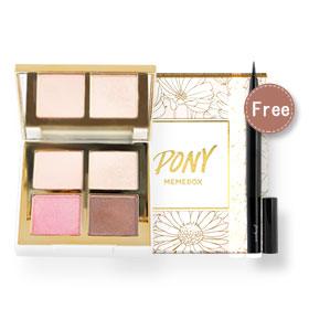 Pony Memebox Shine Easy Glam 3 Eyeshadow Quad #02 Pink Bloom (Free! Back to Basics Liner #02 Brown Pumps)