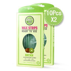 แพ๊คคู่ Girly Kiss Wax Strips #Kiwi (10pcs x 2 boxes)