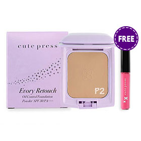 Cute Press Evory Retouch Oil Control Foundation Powder SPF30 PA+++ #P2 (Free Color Fantasy Lip Glaze #G3 1pcs)