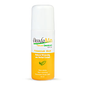DeodoMin Natural Whitening Deodorant Potassium Alum Roll-On 60ml(สินค้านี้ไม่ร่วมรายการซื้อ 2 ชิ้นฟรีค่าจัดส่ง)