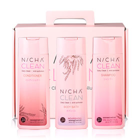 NICH'A CLEAN Daily Clean Anti-Pollution Set 3 Items (Shampoo 300ml + Conditioner 300ml + Body Bath 300ml)