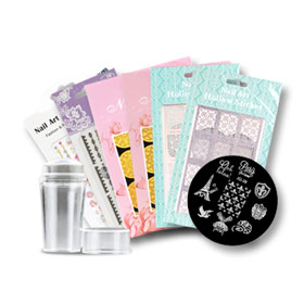Morning Kiss Nail Art Sticker With Nail Art Stamps (9pcs) #Set 2