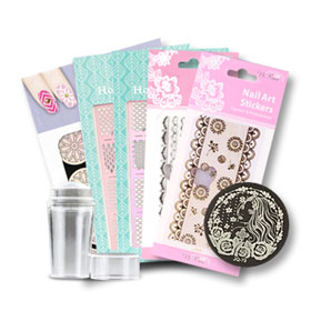 Morning Kiss Nail Art Sticker With Nail Art Stamps (8pcs) #Set 3