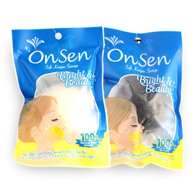 Onsen Soft Konjac Sponge For Face & Body Set 2 Items 30g (White + Black)