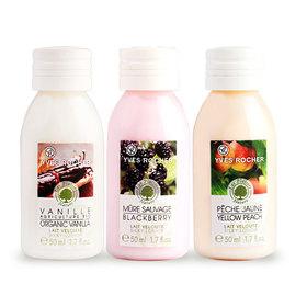 Yves Rocher Les Plaisirs Nature Silky Lotion Set 3 Items (Blackberry 50ml +Organic Vanilla 50ml +Yellow Peach 50ml)