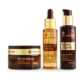 Yves Rocher Riche Creme Set 3 Items (Beauty Elixir 30ml + Anti-Wrinkle Lotion 30ml + Anti-Wrinkle Cream 50ml)