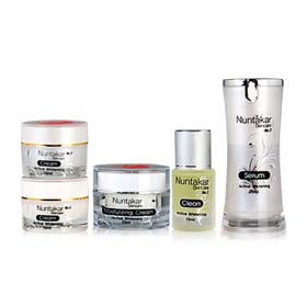 Nuntakar Active Whitening Set 5 Items (Cleansing + Serum + Night Cream + Moisturizing Cream + Day Cream)