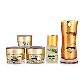 Nuntakar Extra Perfect Set 5 Items (Cleansing + Serum + Sport Bright + Night Cream +  Day Cream )