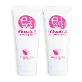 แพ็คคู่ Pink White  Miracle 5 Cleansing Foam (50mlx2)