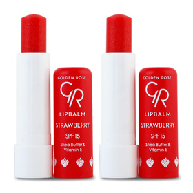 แพ็คคู่ Golden Rose Lip Balm SPF15 (4.6g X 2) #Strawberry