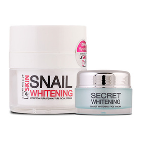 Le'SKIN Snail Whitening Secretion Filtrate Moisture Facial Cream 15ml (Free! Secret Whitening 5ml )