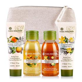 Yves Rocher Mini Les Plaisirs Nature Set 4 Items Free! Gift Bag(Mango 50ml+Vanilla 50ml+Sensual 30ml+Energizing 30ml)