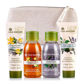Yves Rocher Mini Les Plaisirs Nature Set 4 Items Free! Gift Bag(Vanilla 50ml+Lavender 50ml+Relaxing 30ml+Sensual 30ml)
