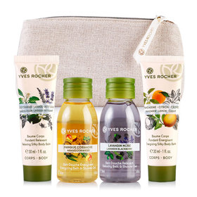 Yves Rocher Mini Les Plaisirs Nature Set 4 Items Free! Gift Bag(Mango 50ml+Lavender 50ml+Relaxing 30ml+Energizing 30ml)