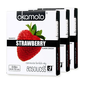 Okamoto Strawberry Flavor Condom 53mm (2pcsx3boxes)