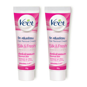 แพ็คคู่ Veet Hair Removal Cream Lotus Milk & Jasmine Normal Skin (50gx2pcs)