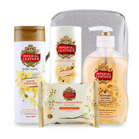 Imperial Leather Beautiful Gift White Set 4 Items (Lotion 200ml + Wash 200ml + Hand Wash 250ml + Cleansing Wipes 20pcs)