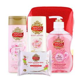 Imperial Leather Beautiful Gift Red Set 4 Items (Lotion 200ml + Wash 200ml + Hand Wash 250ml + Cleansing Wipes 20pcs)