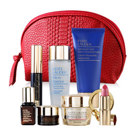 Estee Lauder Cosmetic Red Bag Set 7 Items