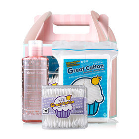 Great Snow Cleansing Water Boxs Set 3 Items (Great Snow Water 200ml + Make Up Bud 75pcs  + Cotton Pad 50g )