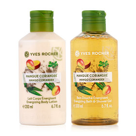 Yves Rocher Duo Set Energizing Mango Coriander (Shower Gel 200ml & Body Lotion 200 ml)