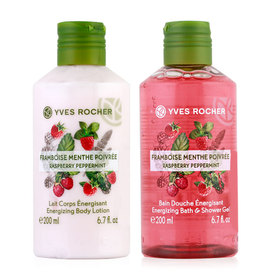 Yves Rocher Duo Set Energizing Raspberry Pepermint (Shower Gel 200ml & Body Lotion 200 ml)