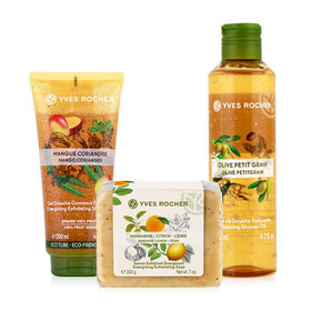 Yves Rocher Trio Of Enjoyment Set (Mandarin Lemon Cedar Energizing Soap 200g+Mango Coriander Energizing Shower Gel 200ml+Olive P