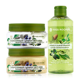Yves Rocher Trio Set (Relaxing Silky Body Balm 150 ml Jar + Body Scrub 150 ml + Relaxing Almond Orange Blossom Shower Gel 400ml)