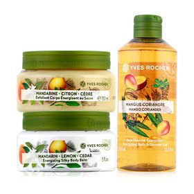 Yves Rocher Trio Set (Energizing Silky Body Balm 150 ml Jar + Body Scrub 150 ml + Energizing Mango Coriander Shower Gel 400ml)