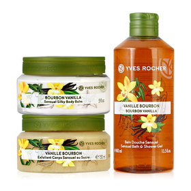 Yves Rocher Trio Set (Sensual Silky Body Balm 150 ml Jar + Body Scrub 150 ml + Vanilla Shower Gel 400 ML)