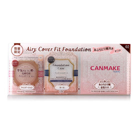 Canmake Airy Cover Fit Foundation Limited Edition Set #02 3 Items (Powdery Foundation+Case+Oil Blotting Paper)