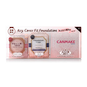 Canmake Airy Cover Fit Foundation Limited Edition Set #01 3 Items (Powdery Foundation+Case+Oil Blotting Paper)