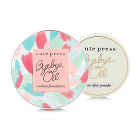 Cute Press Bye Bye Oil Set 2 Items (Cushion Foundation SPF50+/PA+++ 20g #C1 Bright Aura + Acne Clear Powder 6g)