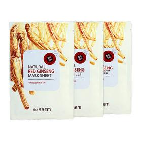 The Saem Natural Red Ginseng Mask Sheet (1pcs x 3) (สินค้านี้ไม่ร่วมรายการซื้อ 2 ชิ้นฟรีค่าจัดส่ง)