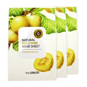 The Saem Natural Gold Kiwi Mask Sheet (1pcs x 3) (สินค้านี้ไม่ร่วมรายการซื้อ 2 ชิ้นฟรีค่าจัดส่ง)