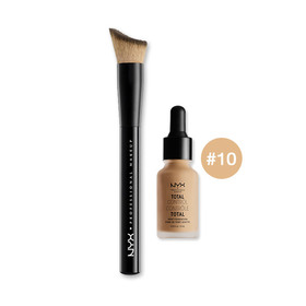 NYX Professional Makeup Total Control Drop Foundation Set 2 Items (Foundation 13ml #10 + Brush)