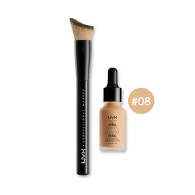 NYX Cosmetics Total Control Drop Foundation Set 2 Items (Foundation 13ml #08 + Brush)