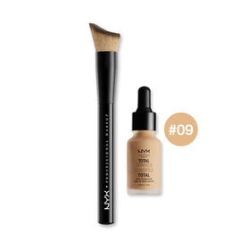 NYX Cosmetics Total Control Drop Foundation Set 2 Items (Foundation 13ml #09 + Brush)