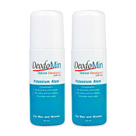 แพ็คคู่ DeodoMin Natural Deodorant Potassium Alum Roll-On (60ml x 2)