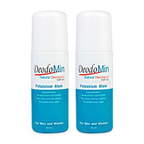 แพ็คคู่ DeodoMin Natural Deodorant Potassium Alum Roll-On (60ml x 2)