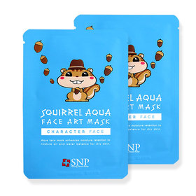 แพ็คคู่ SNP Squirrel Aqua Face Art Mask 2pcs