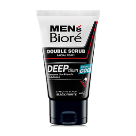 Biore Men's Double Scrub Facial Foam Deep Clean Extra Cool 100g