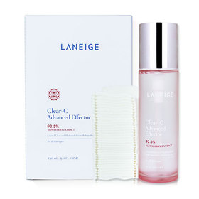 Laneige Clear-C Advanced Effector 92.5% Super Berry Extract with Facial Care Dual Cotton (2Items)