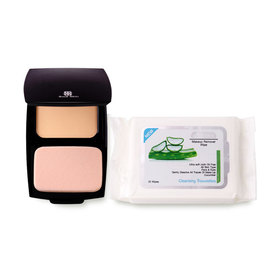 Soul Skin Set 2 Items (Illuminating Foundation Powder SPF30/PA+++ 12g #01 Black + Make Up Remover Wipe 25pcs)