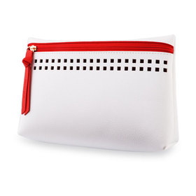 Estee Lauder White Pouch With Red Zipper Line