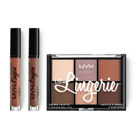 NYX Professional Makeup Lingerie Vault Set (Lid Lingerie Shadow Palette + Lip Lingerie #LIPLI17 Seduction + #LIPLI24 Carbaret)